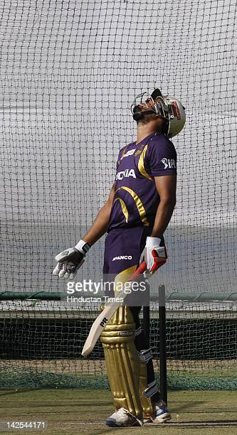 Kolkata Knight Riders player Yusuf Pathan during the practice session at Sawai Mansingh Stadium on April 7 2012 in Jaipur India Kolkata Knight Riders...