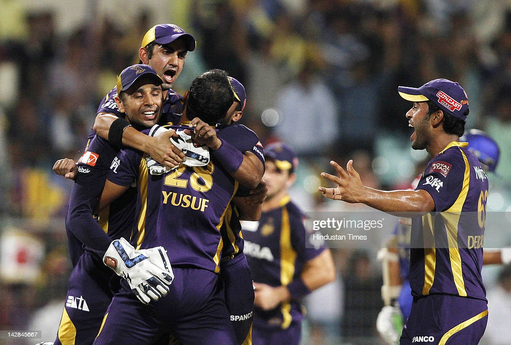 Kolkata Knight Riders players celebrate after getting Rajasthan Royals batsman Ashok Maneria runout during IPL 5 cricket match played between Rajasthan Royals and Kolkata Knight Riders at Eden Garden on April 13, 2012 in Kolkata, India, Kolkata Knight Riders won by 5 wickets with 4 balls remaining.