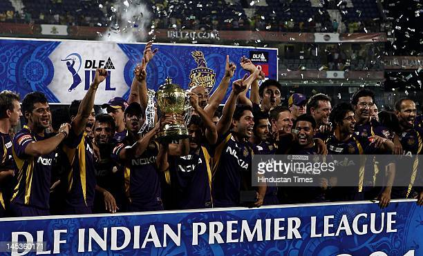 Kolkata Knight Riders pose with the Indian Premier League season 5 trophy at MA Chidambaram stadium on Sunday May 27 2012 in Chennai India In an...