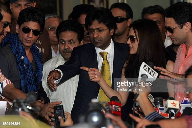 Kolkata Knight riders team owner Shahrukh Khan Indian Premier League Chairman Lalit Modi team Mohali's owner Priety Zinta and Ness Wadia address the...