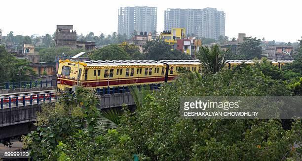 A Kolkata Metro coach is seen during its inaugural run in Kolkata on August 22 2009 A 58kilometre metro rail stretch from Tollygunge to Garia Bazar...