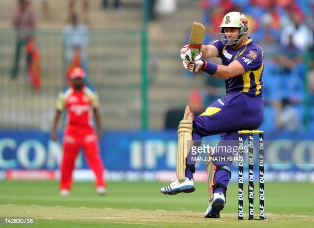 Kolkatta Knight Riders batsman Jacques Kallis tries to play a shot during the IPL Twenty20 cricket match between Royal Challengers Bangalore and...