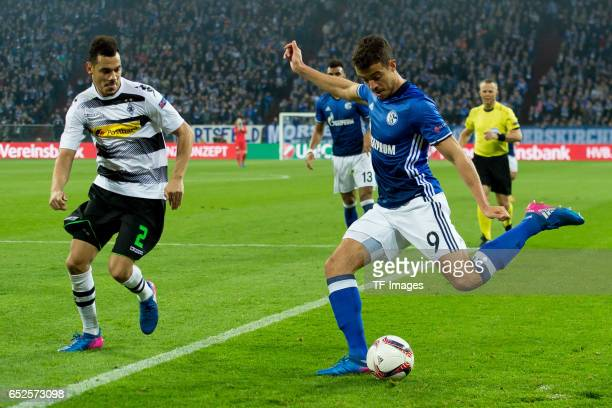 Kolo Timothee Kolodziejczak of Borussia Moenchengladbach and Franco Di Santo of Schalke battle for the ball during the UEFA Europa League Round of 16...