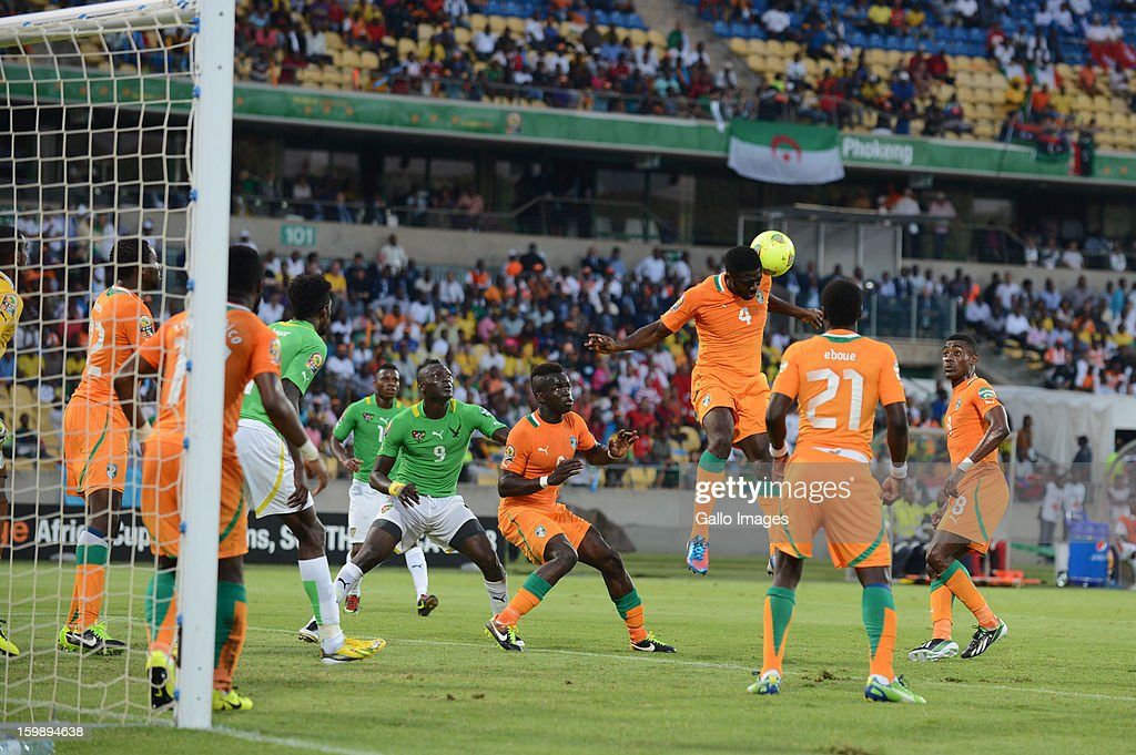 Kolo Toure head the ball during the 2013 Orange African Cup of Nations match between Ivory Coast and Togo from Royal Bafokeng Stadium on January 22, 2012 in Rustenburg, South Africa.