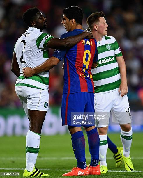 Kolo Toure of Celtic and Luis Suarez of Barcelona embrace after the UEFA Champions League Group C match between FC Barcelona and Celtic FC at Camp...