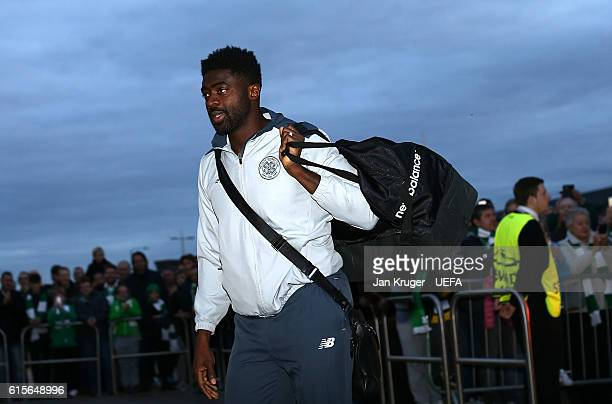 Kolo Toure of Celtic arrives ahead of the UEFA Champions League match between Celtic FC and VfL Borussia Moenchengladbach at Celtic Park on October...