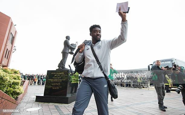 Kolo Toure of Celtic arrives early at Celtic Park before the UEFA Champions League Third Round Second Leg between Celtic and Astana at Celtic Park on...
