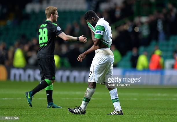 Kolo Toure of Celtic FC reacts at the final whistle as Celtic are beaten 20 by VfL Borussia Moenchengladbach during the UEFA Champions League match...