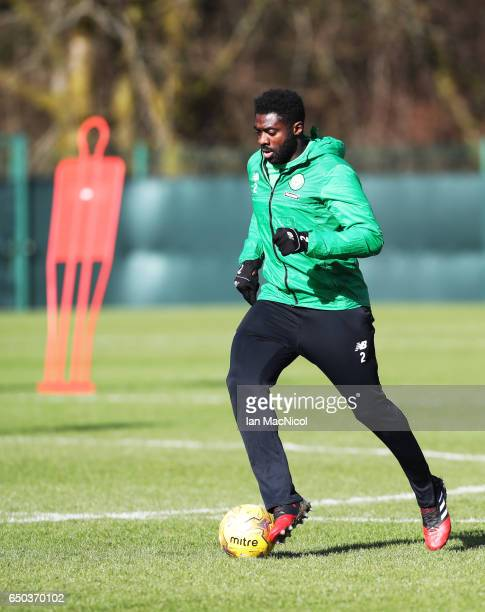 Kolo Toure of Celtic is seen during a Celtic training session at Lennoxtown Training Centre near Glasgow on March 9 2017 in Glasgow Scotland