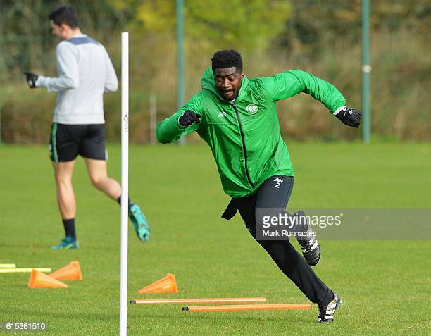 Kolo Toure of Celtic performs a drill during a Celtic training session on the eve of their UEFA Champions League Group C match against Borussia...