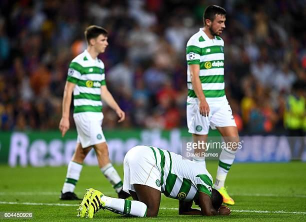Kolo Toure of Celtic reacts to an injury during the UEFA Champions League Group C match between FC Barcelona and Celtic FC at Camp Nou on September...