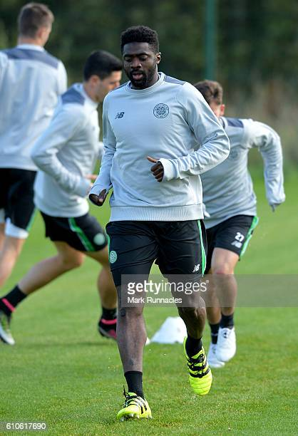 Kolo Toure of Celtic training ahead of the UEFA Champions League match between Celtic FC and Manchester City FC at Celtic's Lennoxtown Training...