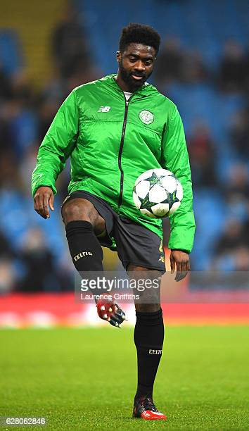 Kolo Toure of Celtic warms up prior to the UEFA Champions League Group C match between Manchester City FC and Celtic FC at Etihad Stadium on December...