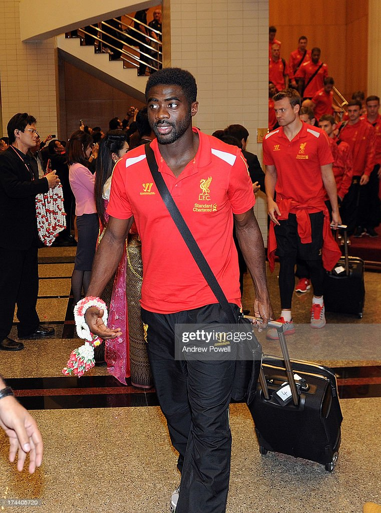 Kolo Toure of Liverpool arrives in Bangkok for a stop on the club's Pre-Season tour on July 25, 2013 in Bangkok, Thailand.