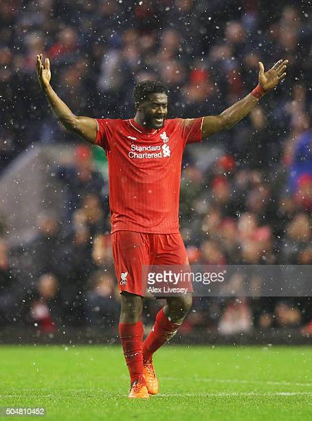 Kolo Toure of Liverpool celeberates his team's third goal during the Barclays Premier League match between Liverpool and Arsenal at Anfield on...