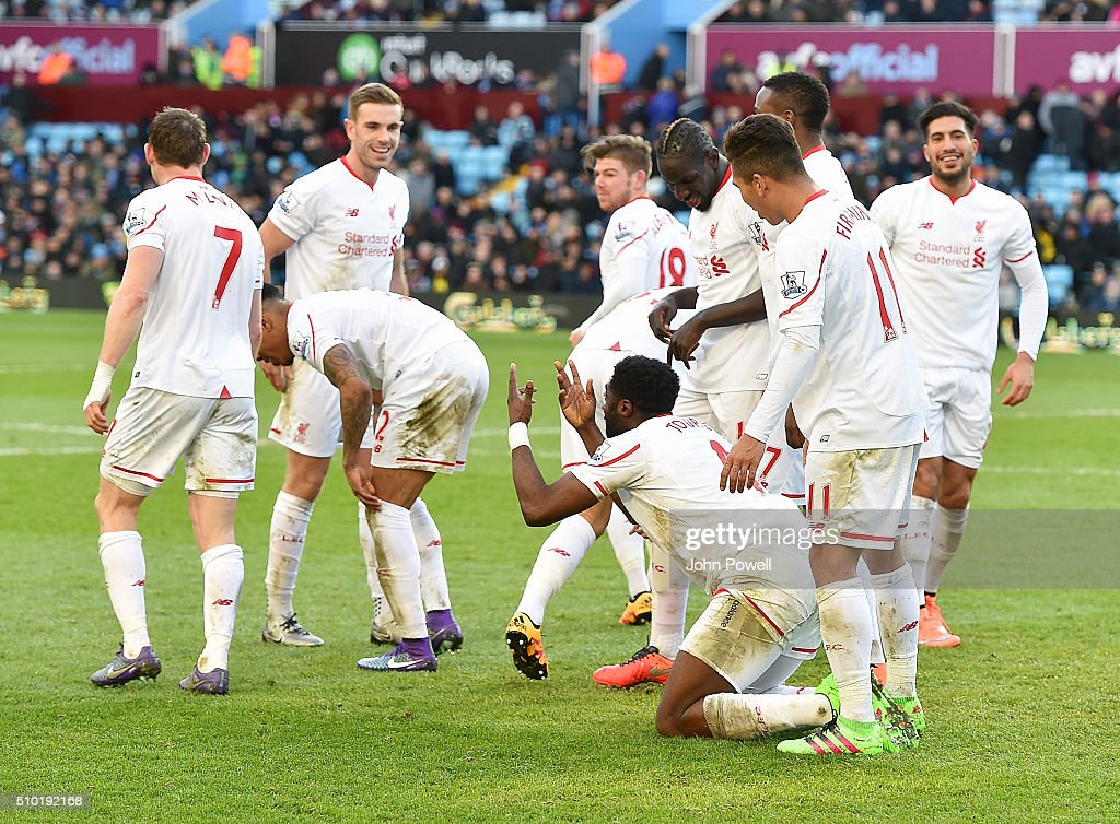 <a gi-track='captionPersonalityLinkClicked' href=/galleries/search?phrase=Kolo+Toure&family=editorial&specificpeople=204364 ng-click='$event.stopPropagation()'>Kolo Toure</a> of Liverpool celebrates after scoring the sixth goal for Liverpool during the Barclays Premier League match between Aston Villa and Liverpool at Villa Park on February 14, 2016 in Birmingham, England.