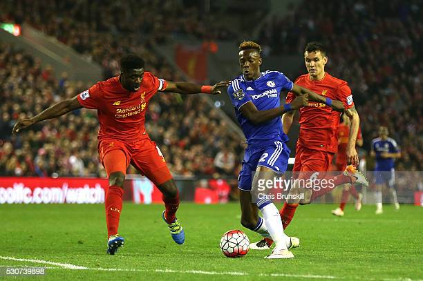 Kolo Toure of Liverpool closes down Tammy Abraham of Chelsea during the Barclays Premier League match between Liverpool and Chelsea at Anfield on May...