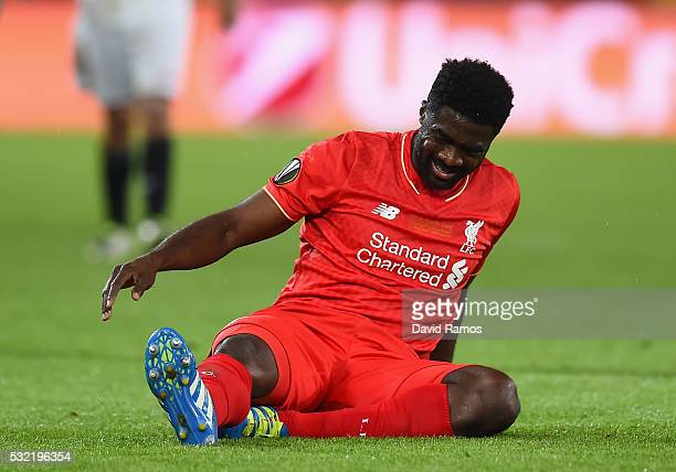 Kolo Toure of Liverpool reacts during the UEFA Europa League Final match between Liverpool and Sevilla at St JakobPark on May 18 2016 in Basel...