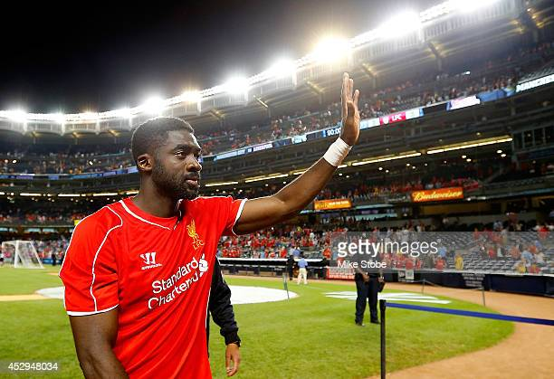 Kolo Toure of Liverpool waves to the crowd following the game against Manchester City during the International Champions Cup 2014 at Yankee Stadium...