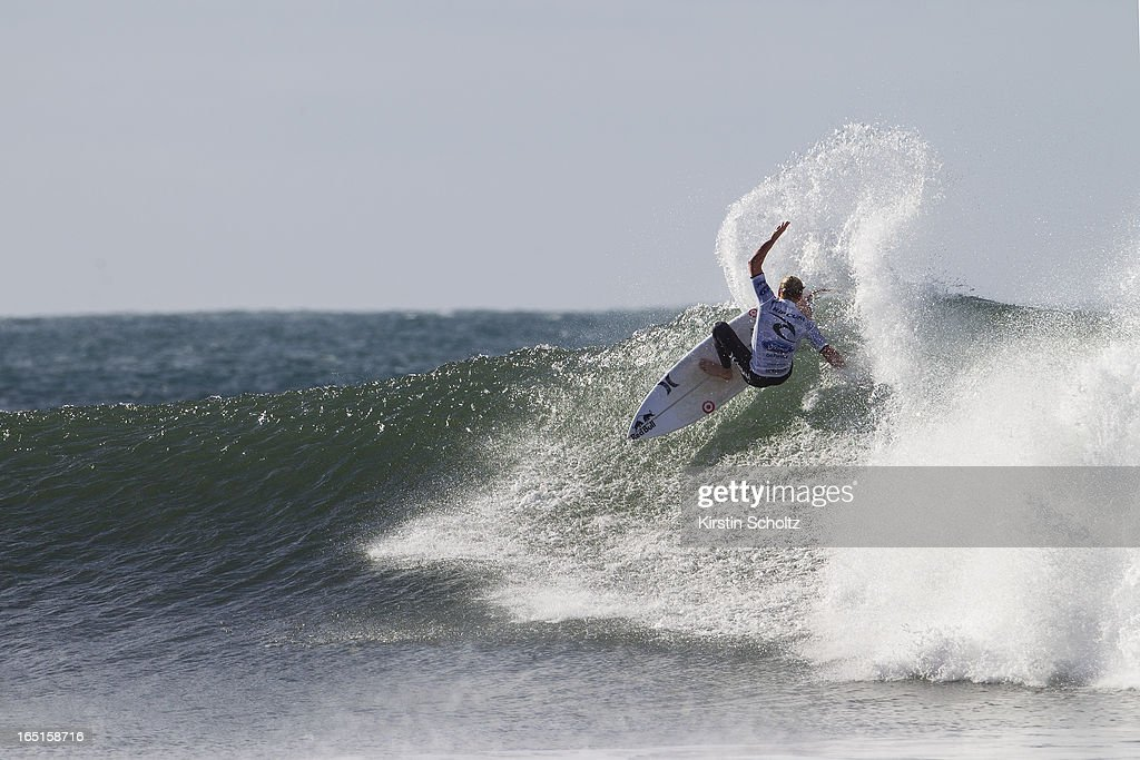 Kolohe Andino of the United States of America surfs during the Rip Curl Pro on April 1, 2013 in Bells Beach, Australia.
