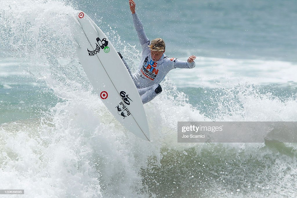 Kolohe Andino of USA surfing in the mens semifinal against Yadin Nicol of Australia at the Nike US Open of Surfing on August 7 2011 in Huntington...
