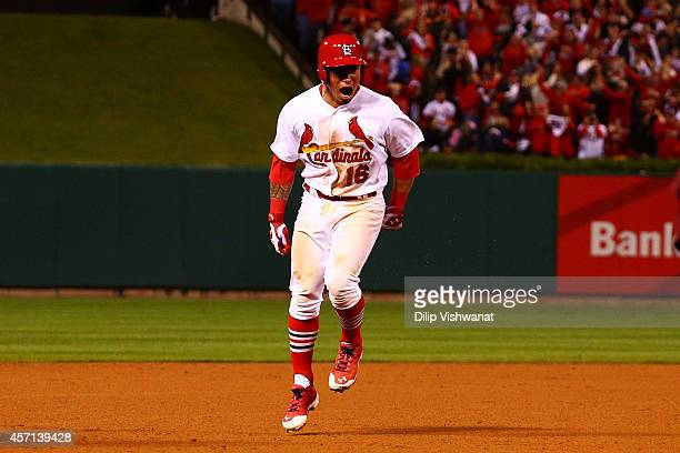 Kolten Wong of the St Louis Cardinals celebrates his solo home run in the ninth inning to give the St Louis Cardinals the 5 to 4 win over the San...