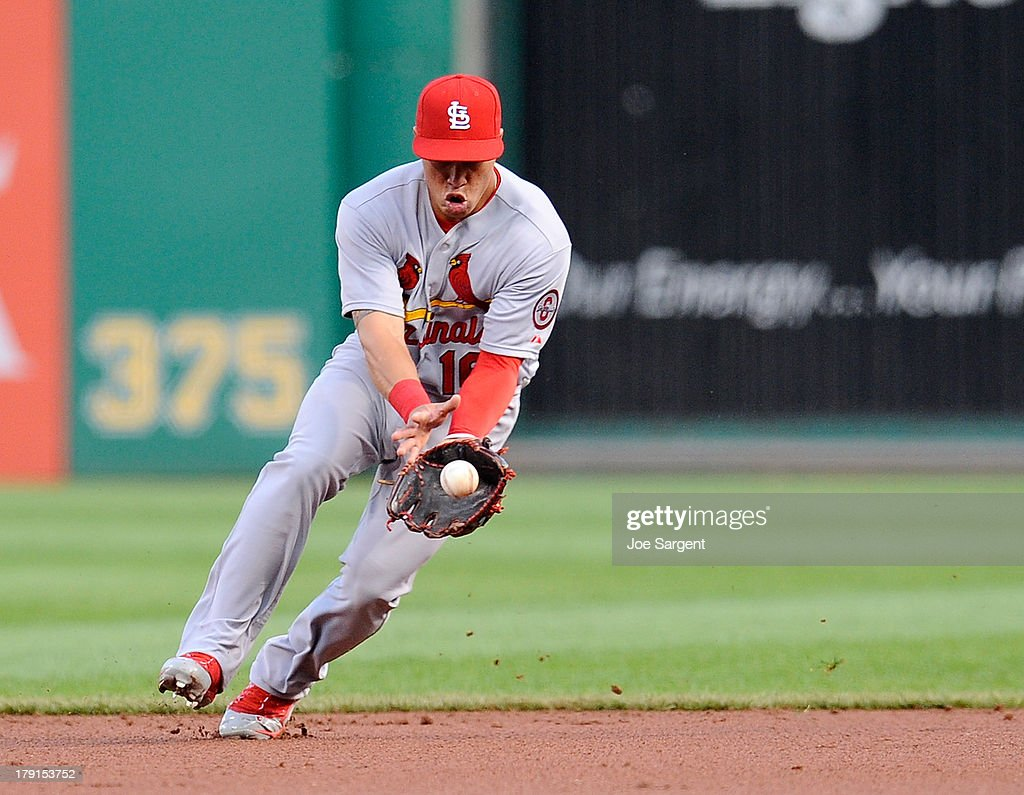 Kolten Wong #16 of the St. Louis Cardinals fields a ground ball during the second inning against the Pittsburgh Pirates on August 31, 2013 at PNC Park in Pittsburgh, Pennsylvania.