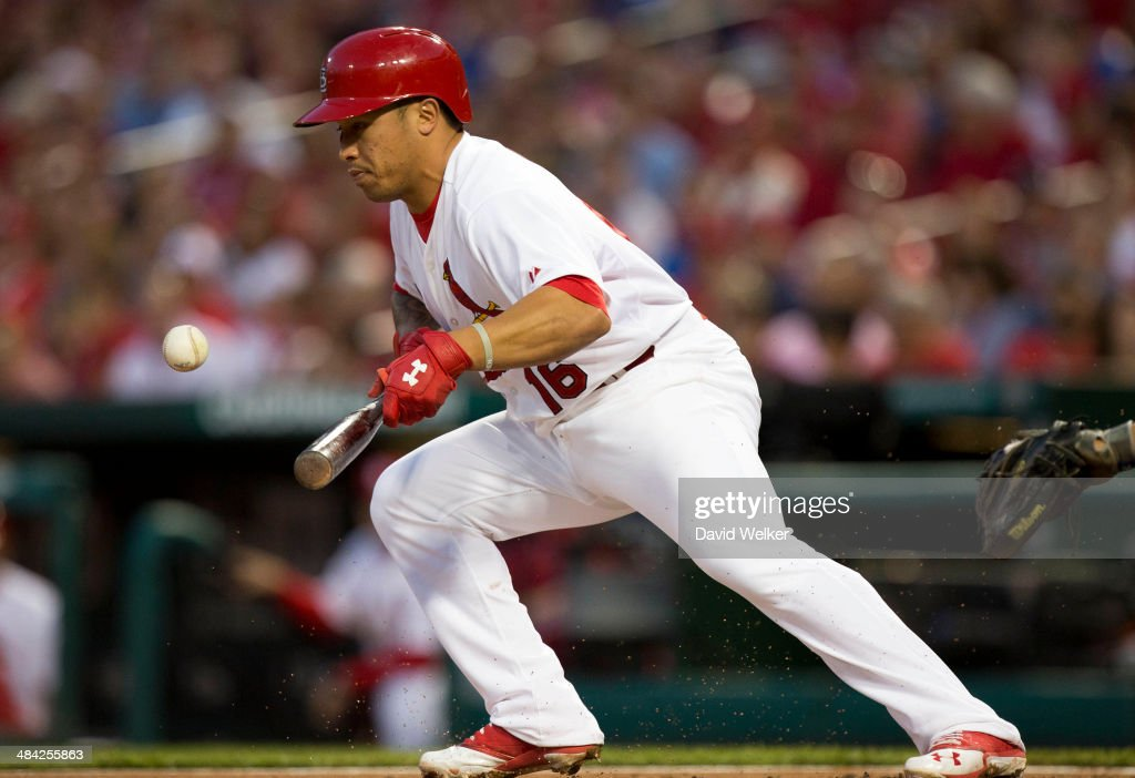 <a gi-track='captionPersonalityLinkClicked' href=/galleries/search?phrase=Kolten+Wong&family=editorial&specificpeople=9003005 ng-click='$event.stopPropagation()'>Kolten Wong</a> #16 of the St. Louis Cardinals lays down a bunt in the first inning during a game against the Chicago Cubs at Busch Stadium on April 11, 2014 in St. Louis, Missouri.
