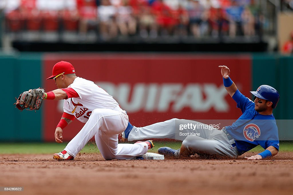 <a gi-track='captionPersonalityLinkClicked' href=/galleries/search?phrase=Kolten+Wong&family=editorial&specificpeople=9003005 ng-click='$event.stopPropagation()'>Kolten Wong</a> #16 of the St. Louis Cardinals makes an out against Tommy La Stella #2 of the Chicago Cubs during the second inning at Busch Stadium on May 25, 2016 in St. Louis, Missouri.