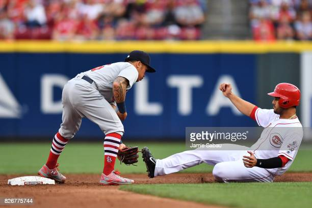 Kolten Wong of the St Louis Cardinals tags out Eugenio Suarez of the Cincinnati Reds as Suarez attempts to steal second base in the second inning at...
