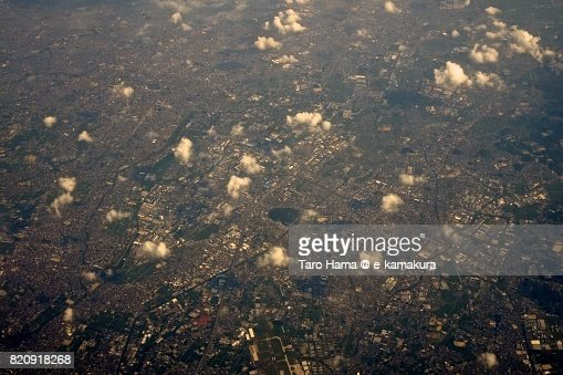 Komaki city in Aichi prefecture day time aerial view from airplane : ストックフォト