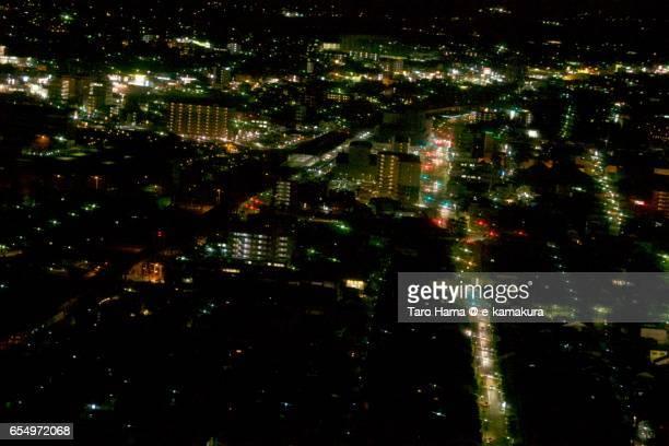 Komatsu city, night time aerial view from airplane