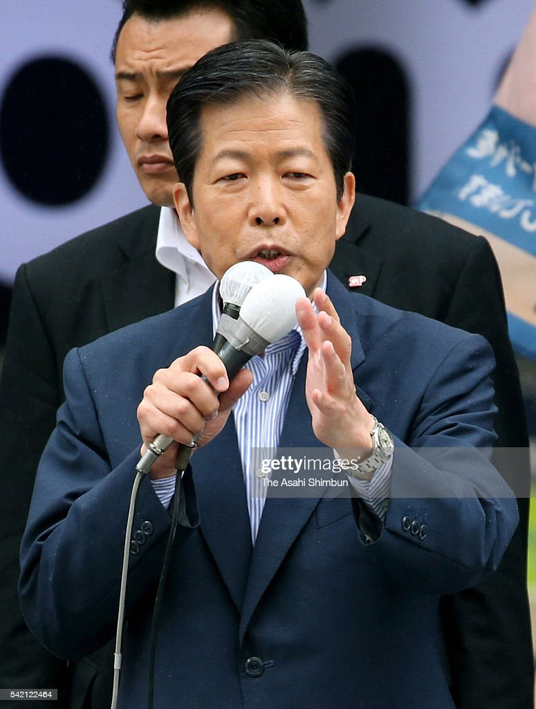 Komeito leader natsuo Yamaguchi makes a street speech on June 22, 2016 in Saitama, Japan. Ruling coalition leaders touted the positive effects of Prime Minister Shinzo Abe's economic policies known as Abenomics, saying a move away from this course would sink the economy back into the doldrums. The opposition parties have devised a cooperation strategy to prevent the ruling coalition from gaining a two-thirds majority in the Upper House that would enable it to start the process of amending the pacifist Constitution. Election day is July 10. And for the first time, those who are 18 and 19 will be able to have a say in how Japan is run.
