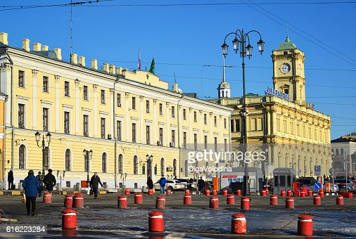 . Komsomolskaya Square and the Leningradsky Railway Station : Stock Photo