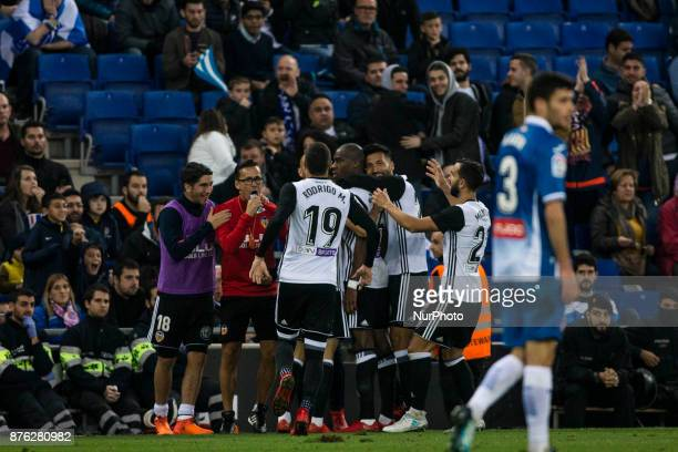 16 Kondogbia from France of Valencia CF celebrating his goal with his team during the match of La Liga Santander between RCD Espanyol v Valencia CF...