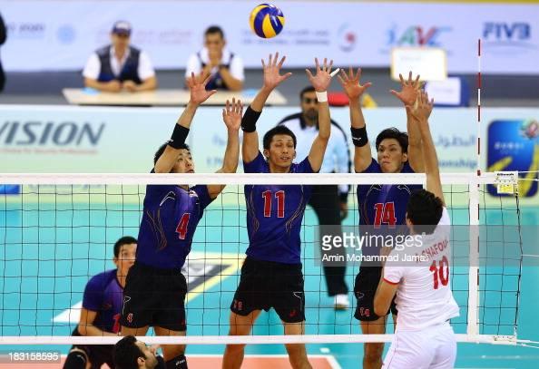 Kondoh Shigeru and Matsumoto Yoshihhikc and Fukuzawa Tatsuya during 17th Asian Men's Volleyball Championship between Iran And Japan on October 5 2013...