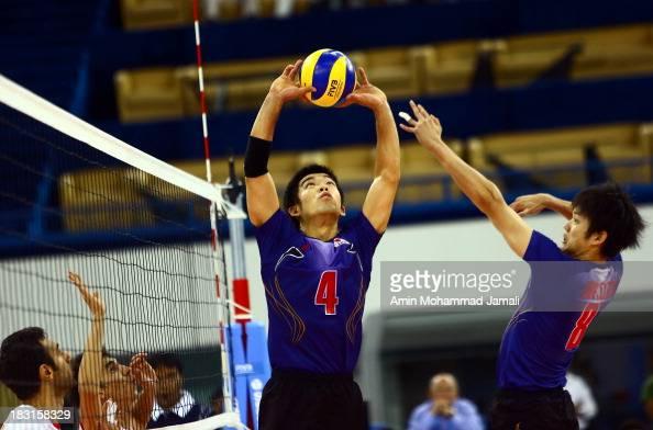 Kondoh Shigeru and Yokota Kazuyoshi during the 17th Asian Men's Volleyball Championship between Iran And Japan on October 5 2013 in Dubai United Arab...