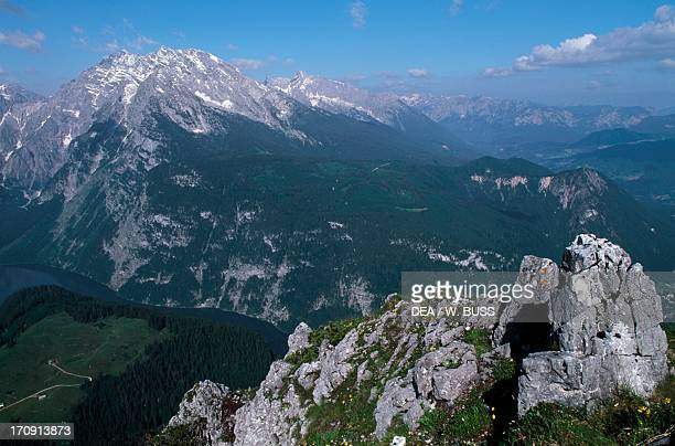 Konigssee lake and Watzmann massif seen from Mount Jenner Berchtesgaden National Park Bavaria Germany