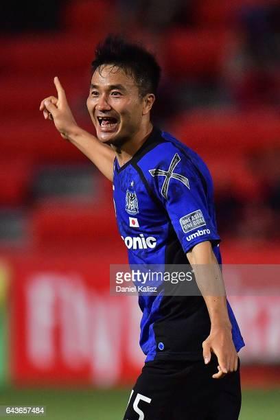 Konno Yasuyuki of Gamba Osaka reacts after scoring a goal during the AFC Asian Champions League match between Adelaide United and Gamba Osaka at...
