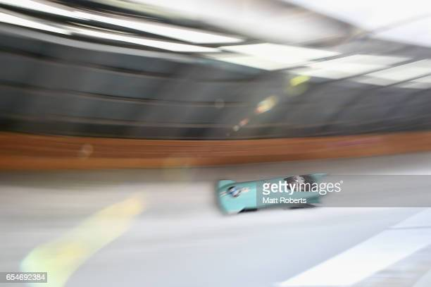 Konomi Asazu and Mutumi Sakauchi of Japan compete in the Women's Bobsleigh during the BMW IBSF World Cup Bob Skeleton PyeongChang Presented by JIN...