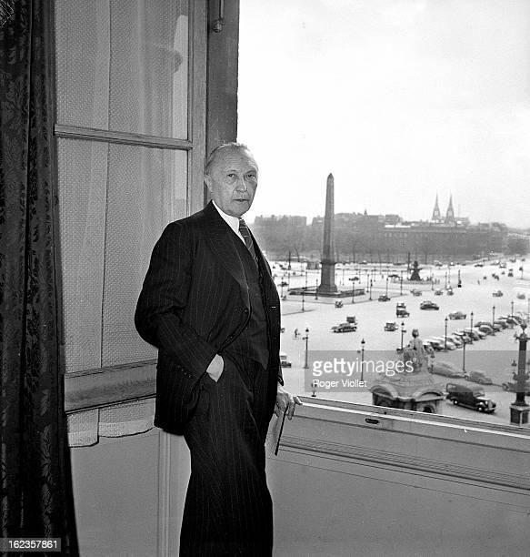 Konrad Adenauer German chancellor at the Hôtel Crillon Paris April 11 1951