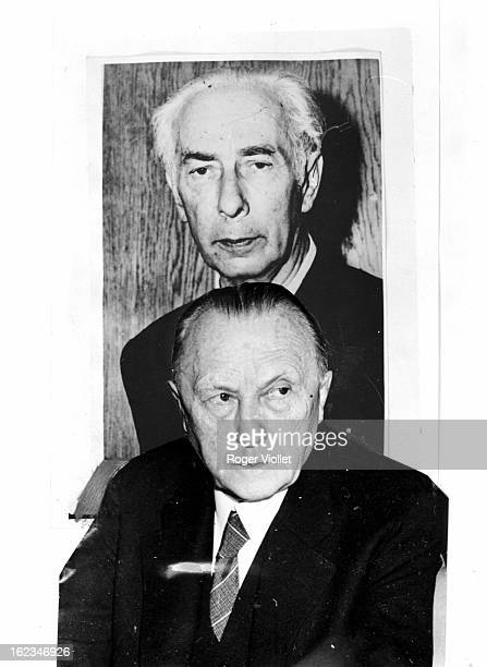 Konrad Adenauer German politician and a photograph of Theodor Heuss first President of the Federal Republic of Germany circa 1950