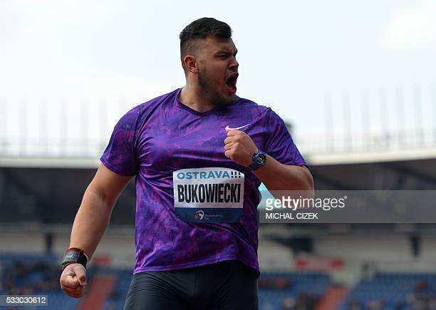 Konrad Bukowiecki of Poland reacts during the men's shot put competition at the IAAF World challenge Zlata Tretra athletics tournament in Ostrava on...