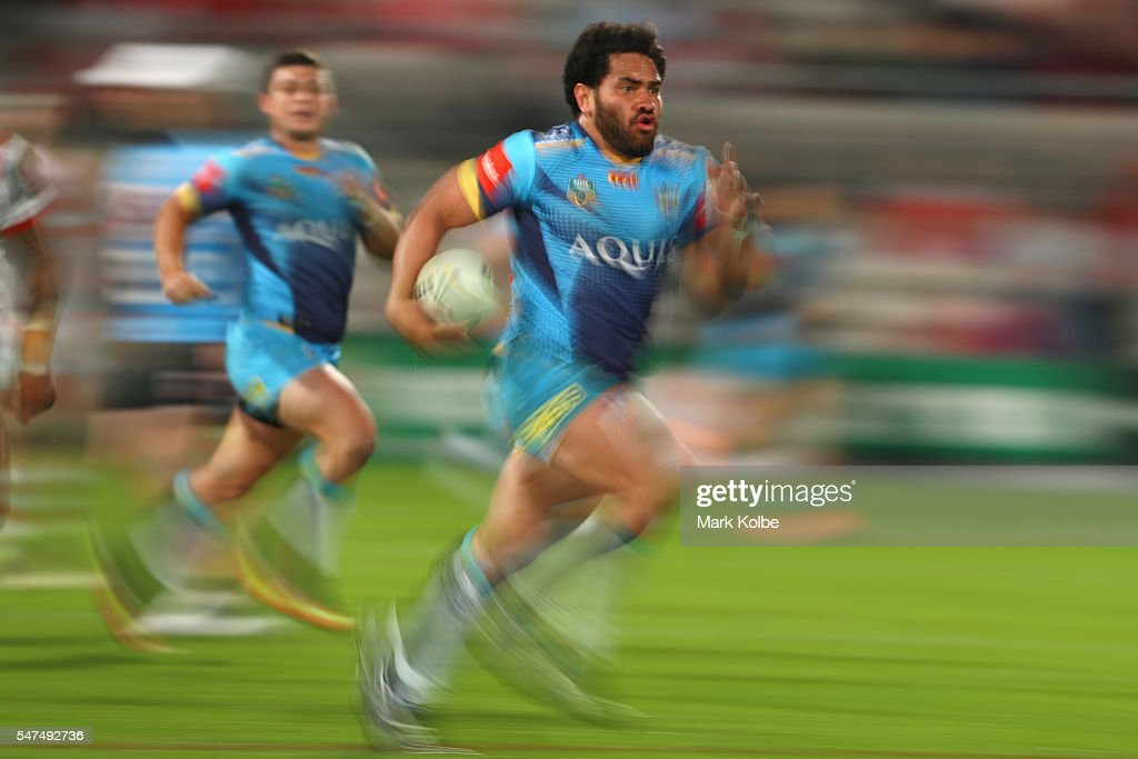 Konrad Hurrell of the Titans makes a break during the round 19 NRL match between the St George Illawarra Dragons and the Gold Coast Titans at WIN Jubilee Stadium on July 15, 2016 in Sydney, Australia.
