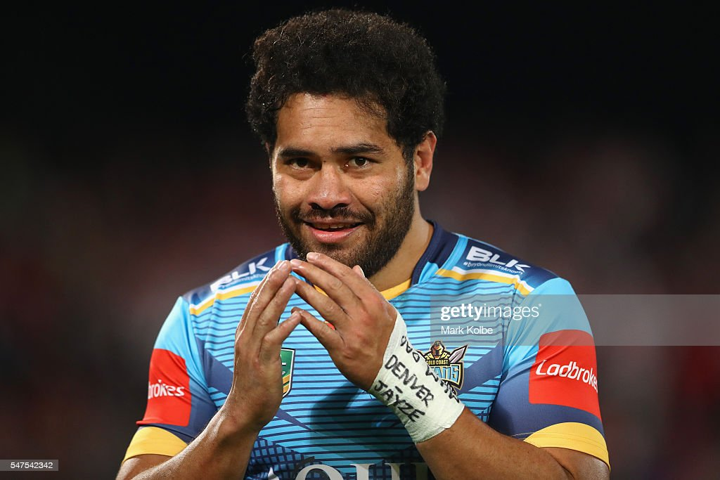 Konrad Hurrell of the Titans smiles as he warms his hands during the round 19 NRL match between the St George Illawarra Dragons and the Gold Coast Titans at WIN Jubilee Stadium on July 15, 2016 in Sydney, Australia.