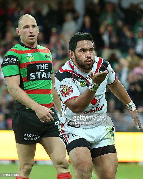 Konrad Hurrell of the Warriors blows a kiss after scoring a try during the round 17 NRL match between the South Sydney Rabbitohs and the New Zealand...