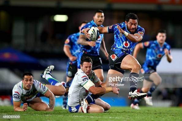 Konrad Hurrell of the Warriors breaks through the Raiders defence during the round nine NRL match between the New Zealand Warriors and the Canberra...
