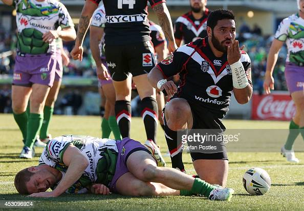 Konrad Hurrell of the Warriors celebrates after scoring a try during the round 21 NRL match between the Canberra Raiders and the New Zealand Warriors...