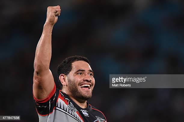Konrad Hurrell of the Warriors celebrates during the round 15 NRL match between the Gold Coast Titans and the New Zealand Warriors at Cbus Super...