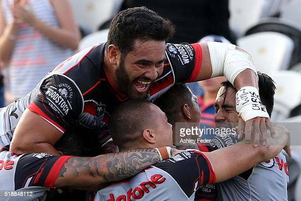 Konrad Hurrell of the Warriors celebrates the win during the round five NRL match between the Sydney Roosters and the New Zealand Warriors at Central...